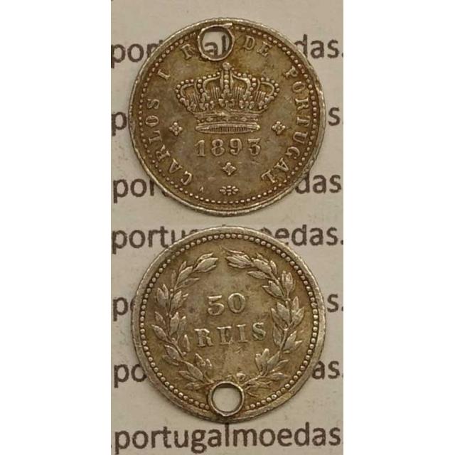 50 REIS PRATA 1893 (BC-/REG) - D. CARLOS I