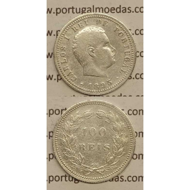 100 REIS PRATA 1893 (BC+) - D. CARLOS I