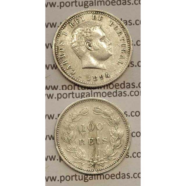 100 REIS PRATA 1894 (MBC-) - D. CARLOS I
