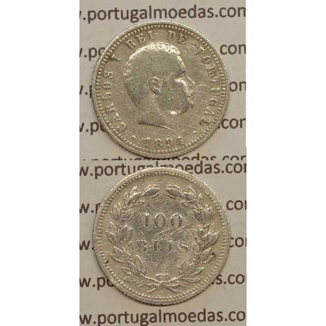 100 REIS PRATA 1894 (BC) - D. CARLOS I