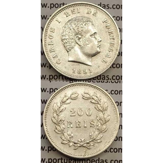 200 REIS PRATA 1891 (MBC+/BELA-) - D. CARLOS I