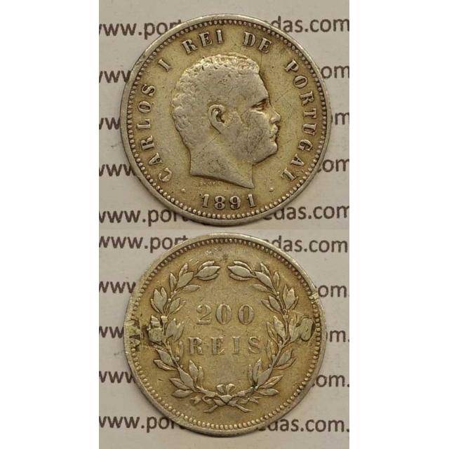 200 REIS PRATA 1891 (BC+) - D. CARLOS I