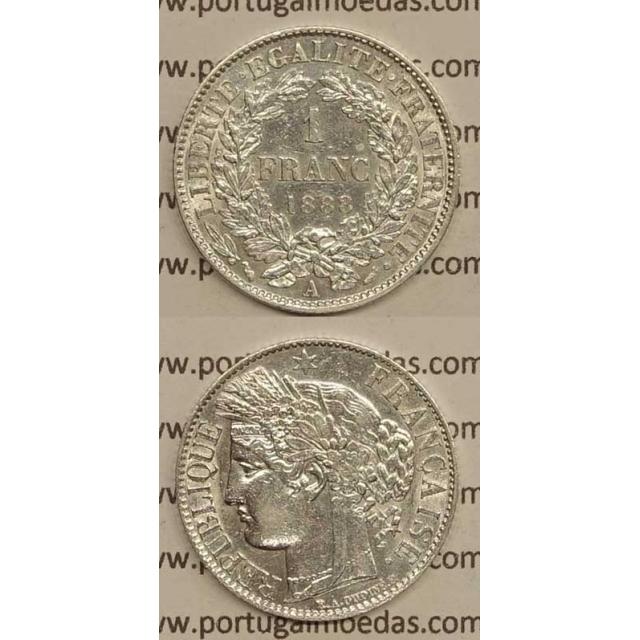 """200 REIS - 1 FRANCO PRATA 1888 """"LEI DE 30 JULHO DE 1891"""" (BELA) D. CARLOS I"""
