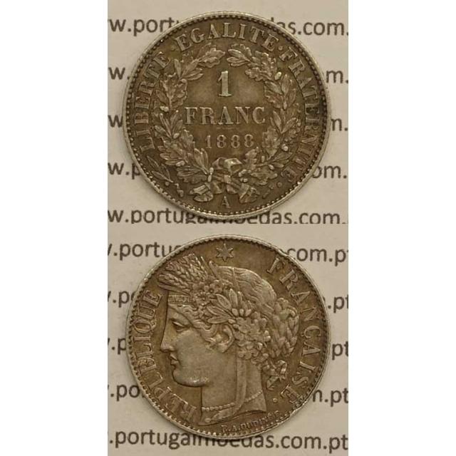 """200 REIS - 1 FRANCO PRATA 1888 """"LEI DE 30 JULHO DE 1891"""" (MBC+/BELA-) D. CARLOS I"""