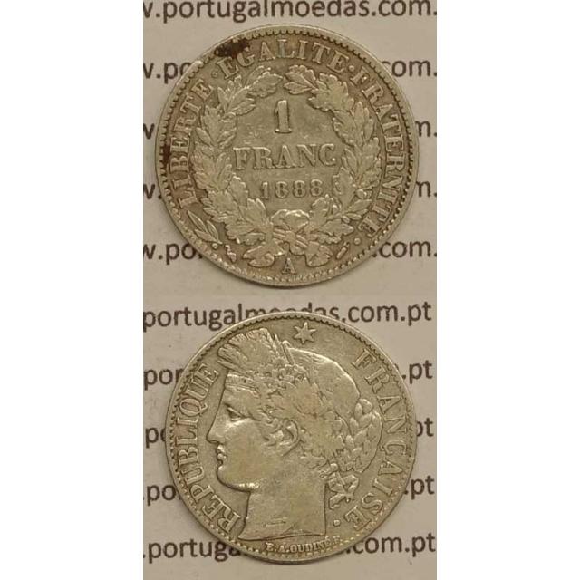 """200 REIS - 1 FRANCO PRATA 1888 """"LEI DE 30 JULHO DE 1891"""" (MBC+) D. CARLOS I"""