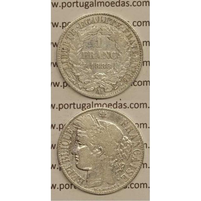 """200 REIS - 1 FRANCO PRATA 1888 """"LEI DE 30 JULHO DE 1891"""" (BC+/MBC-) D. CARLOS I"""