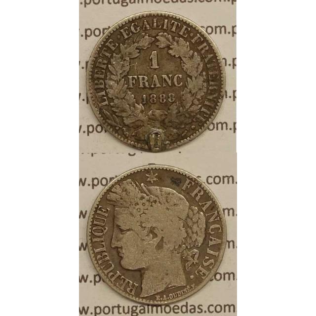 """200 REIS - 1 FRANCO PRATA 1888 """"LEI DE 30 JULHO DE 1891"""" (BC-) D. CARLOS I"""