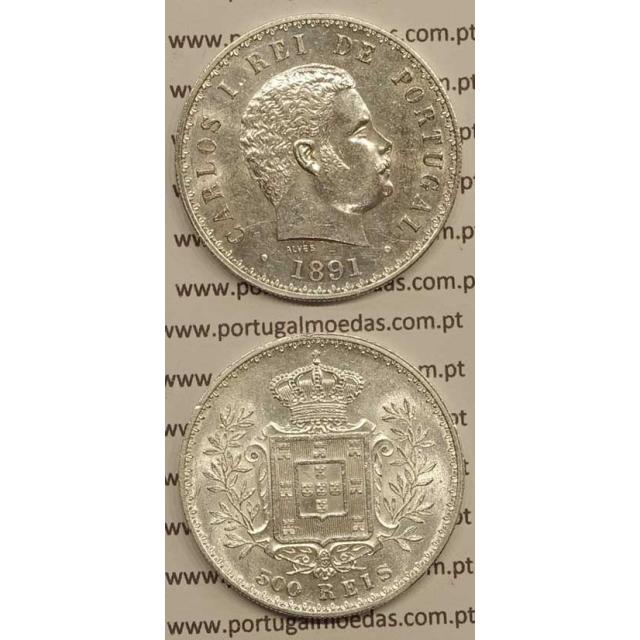 500 REIS PRATA 1891 (BELA/SOB) - D. CARLOS I