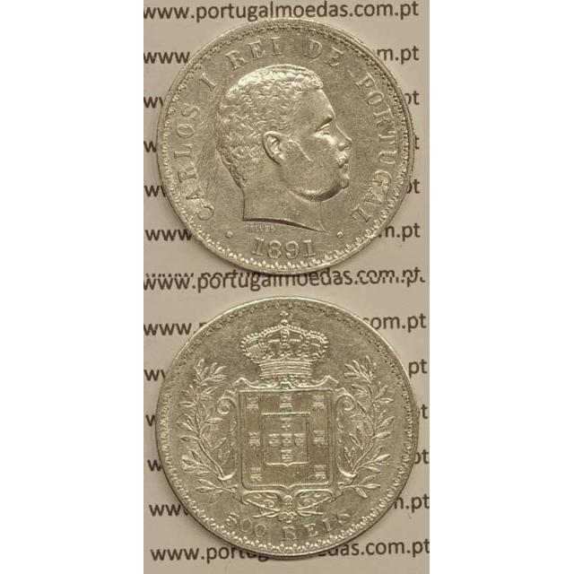 500 REIS PRATA 1891 (MBC+/BELA) - D. CARLOS I