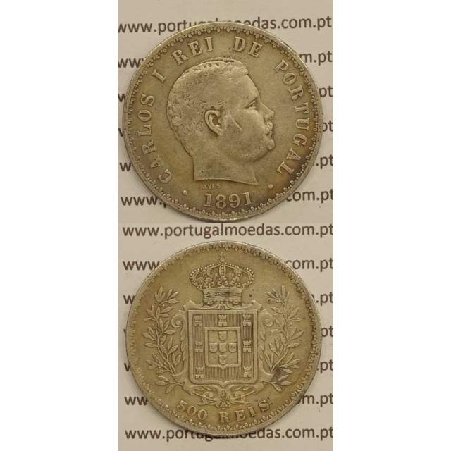 500 REIS PRATA 1891 (BC+) - D. CARLOS I