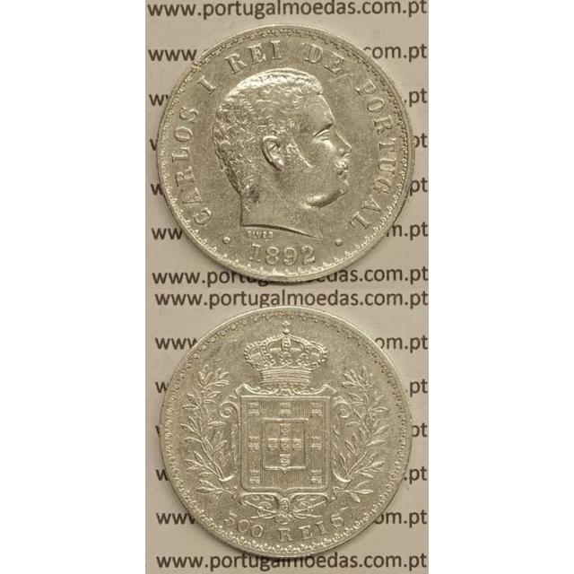 500 REIS PRATA 1892 (MBC+/BELA-) D. CARLOS I
