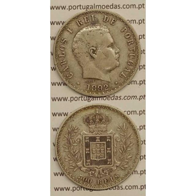 500 REIS PRATA 1892 (BC+/MBC) D. CARLOS I