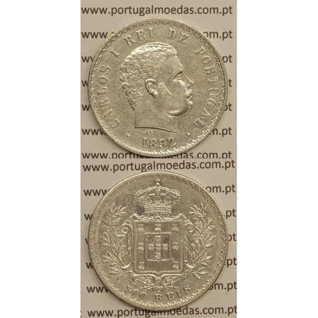 "500 REIS PRATA 1892 ""VARIANTE DATA EMENDADA 2/1"" (MBC+) - D. CARLOS I"