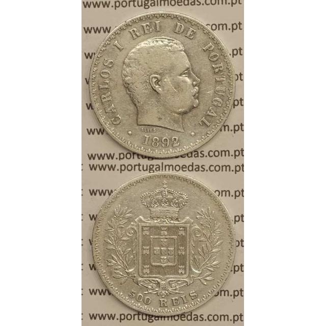"500 REIS PRATA 1892 ""VARIANTE DATA EMENDADA 2/1"" (MBC) D. CARLOS I"