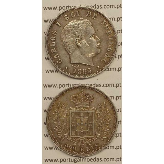 500 REIS PRATA 1893 (MBC+/BELA-) D. CARLOS I