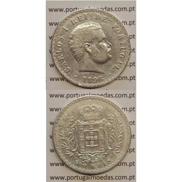 500 REIS PRATA 1896 (BC+) D. CARLOS I