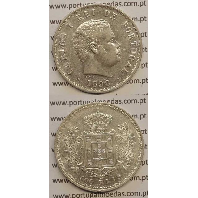 500 REIS PRATA 1898 (MBC+/BELA-) D. CARLOS I