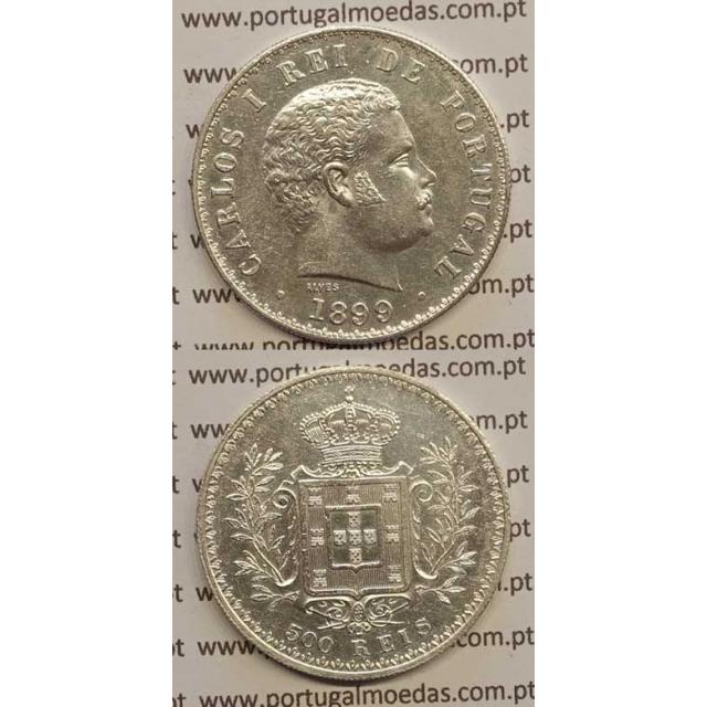 500 REIS PRATA 1899 (MBC+/BELA-) D. CARLOS I