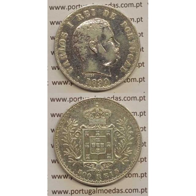 500 REIS PRATA 1899 (BC+) D. CARLOS I