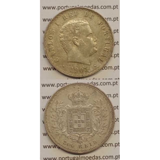 500 REIS PRATA 1903 (MBC+/BELA-) D. CARLOS I