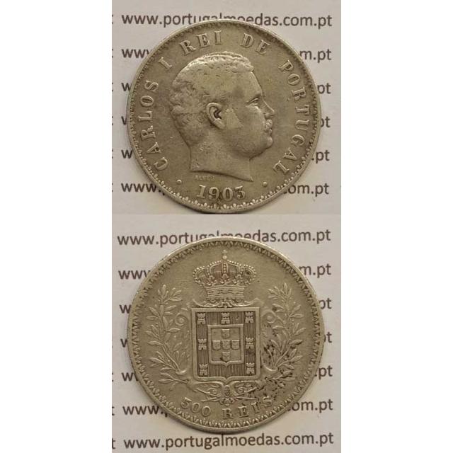 500 REIS PRATA 1903 (BC+) D. CARLOS I