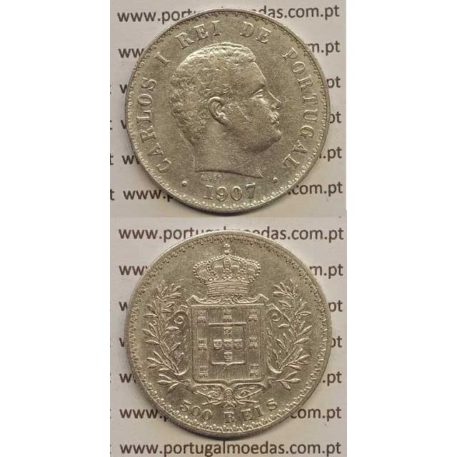 500 REIS PRATA 1907 (BC+) D. CARLOS I