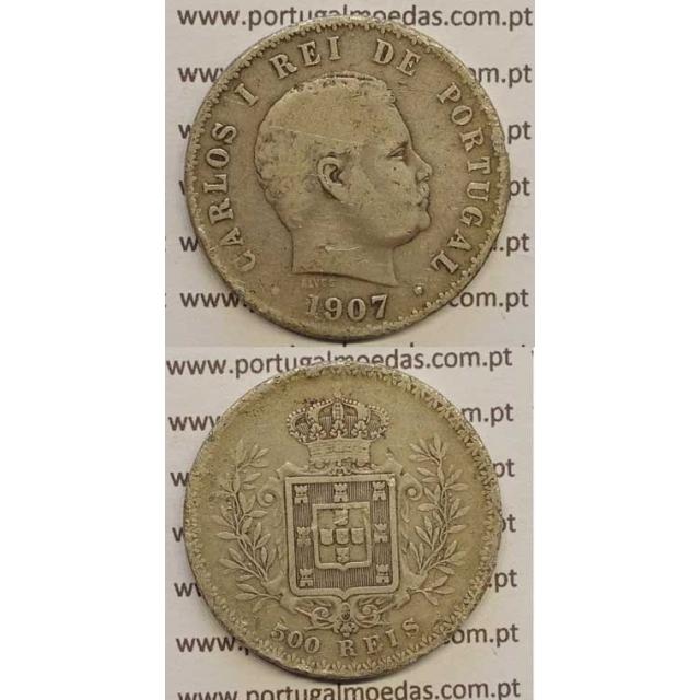 500 REIS PRATA 1907 (BC) D. CARLOS I