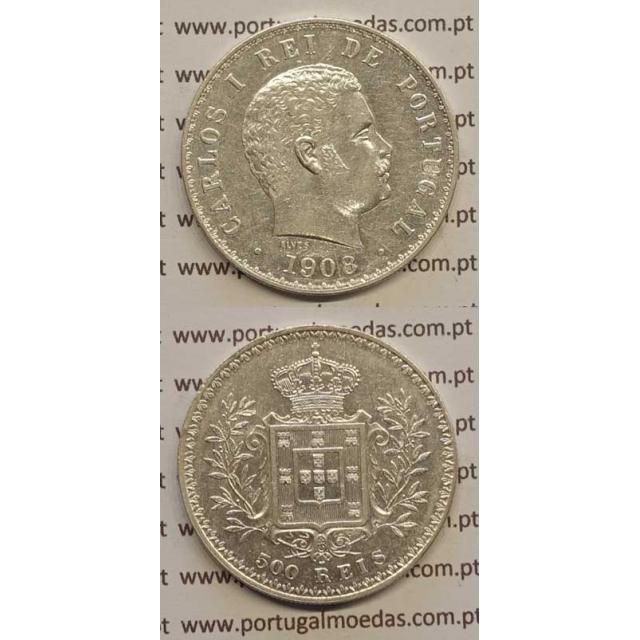 500 REIS PRATA 1908 (MBC+/BELA-) D. CARLOS I