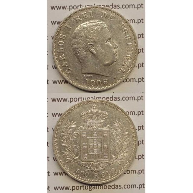 500 REIS PRATA 1908 (MBC+) D. CARLOS I