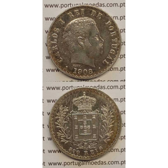 500 REIS PRATA 1908 (MBC) D. CARLOS I