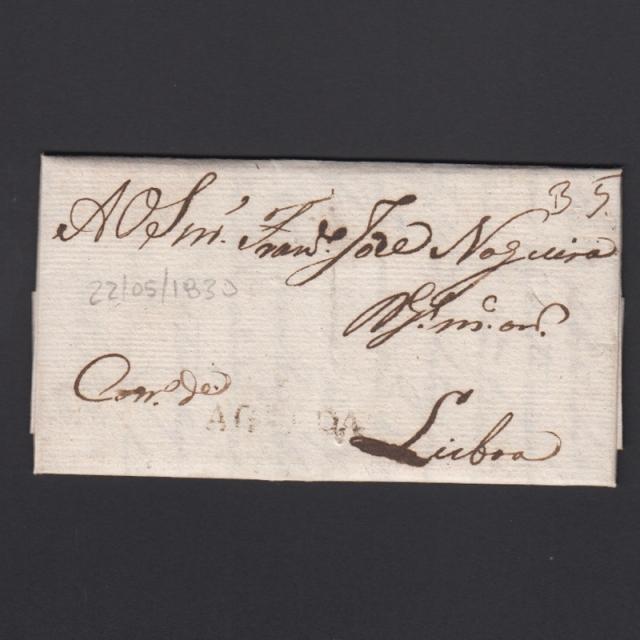 Carta Pré-Filatélica circulada de Águeda para Lisboa datada de 22-05-1830
