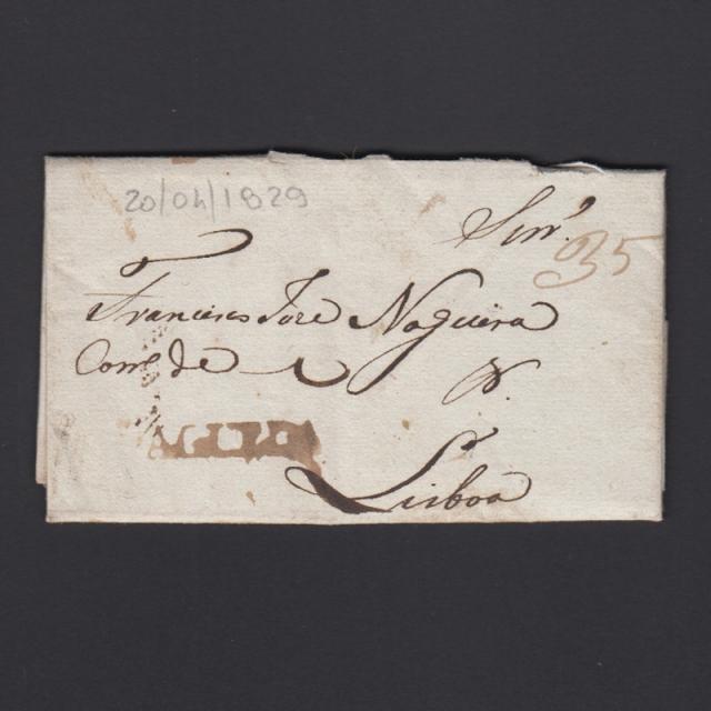 Carta Pré-Filatélica circulada de Águeda para Lisboa datada de 20-04-1829