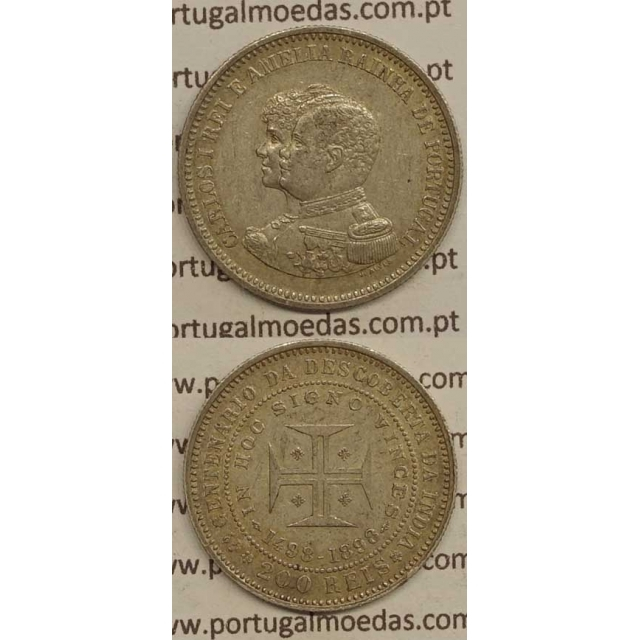 "200 REIS PRATA 1898 ""4º CENT. DESC. INDIA"" (MBC+) D. CARLOS I"