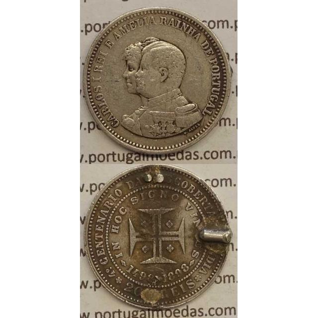 "200 REIS PRATA 1898 ""4º CENT. DESC. INDIA"" (REG/BC) D. CARLOS I"