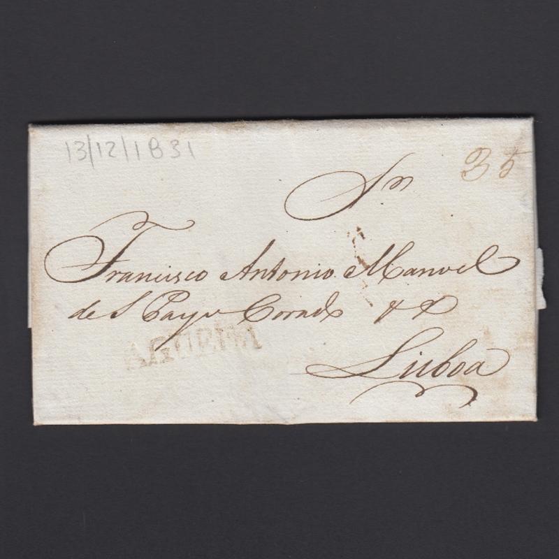 Carta Pré-Filatélica circulada de Águeda para Lisboa datada de 13-12-1831