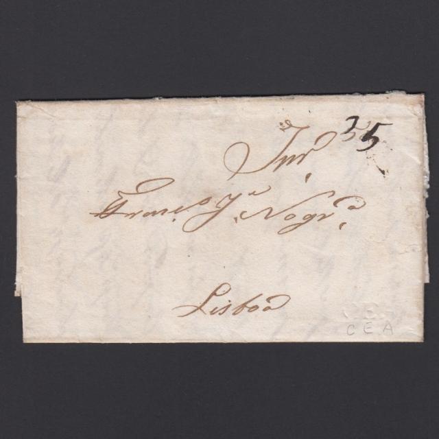 Carta Pré-Filatélica circulada de CEA (Seia) para Lisboa datada de 11-05-1835