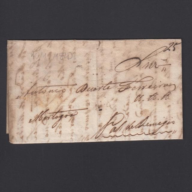 Carta Pré-Filatélica circulada de CEA (Seia) para Vale de Remigio datada de 10-11-1840