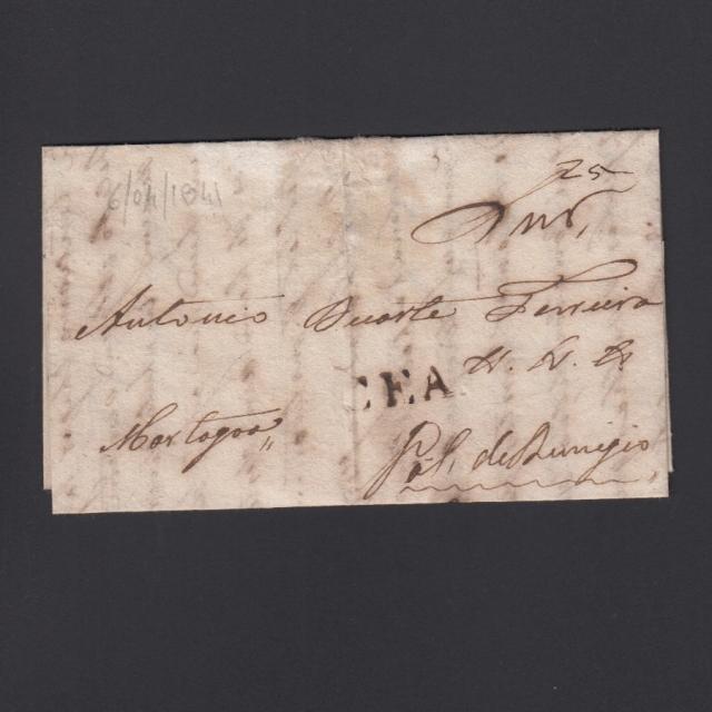 Carta Pré-Filatélica circulada de CEA (Seia) para Vale de Remigio datada de 06-04-1841