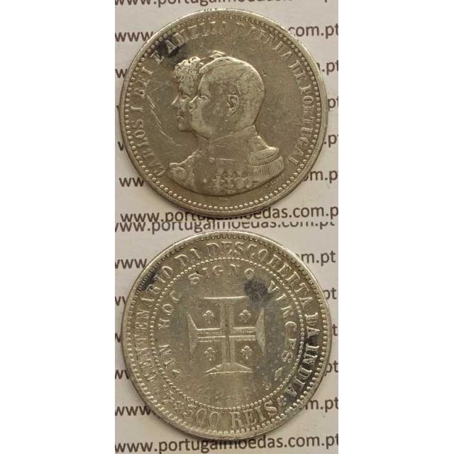 "500 REIS PRATA 1898 ""4º CENT. DESC. INDIA"" (MBC-) D. CARLOS I"