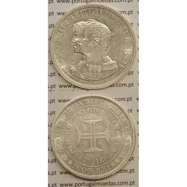 """1000 REIS PRATA 1898 """"4º CENT. DESC. INDIA"""" (BELA) D. CARLOS I"""