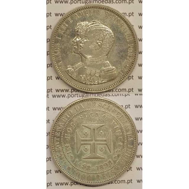"1000 REIS PRATA 1898 ""4º CENT. DESC. INDIA"" (MBC+/BELA-) D. CARLOS I"