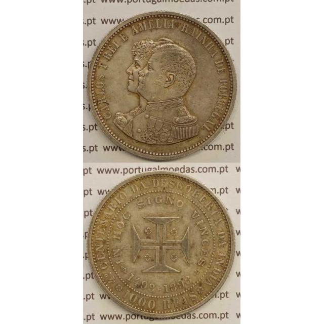 "1000 REIS PRATA 1898 ""4º CENT. DESC. INDIA"" (MBC+) D. CARLOS I"