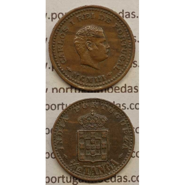 "1/12 TANGA COBRE MCMI -1903 ""ÍNDIA"" (MBC+/BELA-) D. CARLOS I"