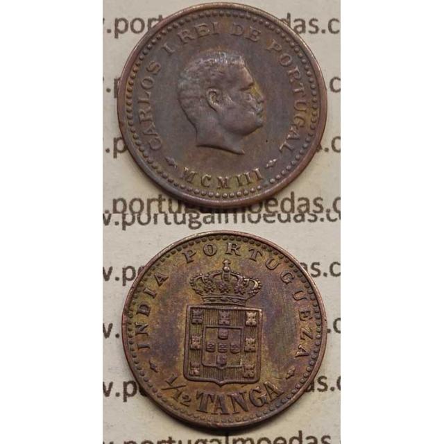 "1/12 TANGA COBRE MCMI -1903 ""ÍNDIA"" (MBC) D. CARLOS I"
