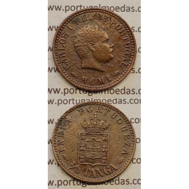"1/8 TANGA COBRE MCMI - 1901 ""ÍNDIA"" (BC+) D. CARLOS I"
