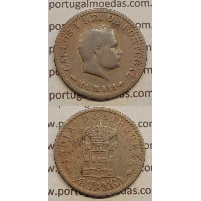 "1/8 TANGA COBRE MCMIII - 1903 ""ÍNDIA"" (BC) D. CARLOS I"