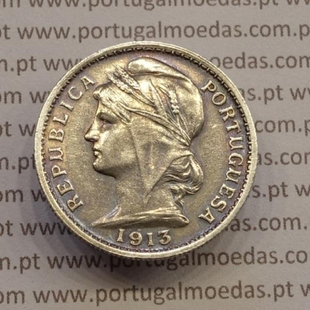 MOEDA DE VINTE CENTAVOS (20 CENTAVOS) PRATA 1913 MBC+/BELA
