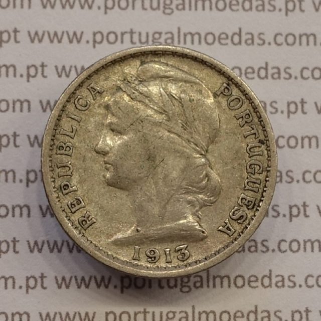 MOEDA DE VINTE CENTAVOS (20 CENTAVOS) PRATA 1913 BC/MBC