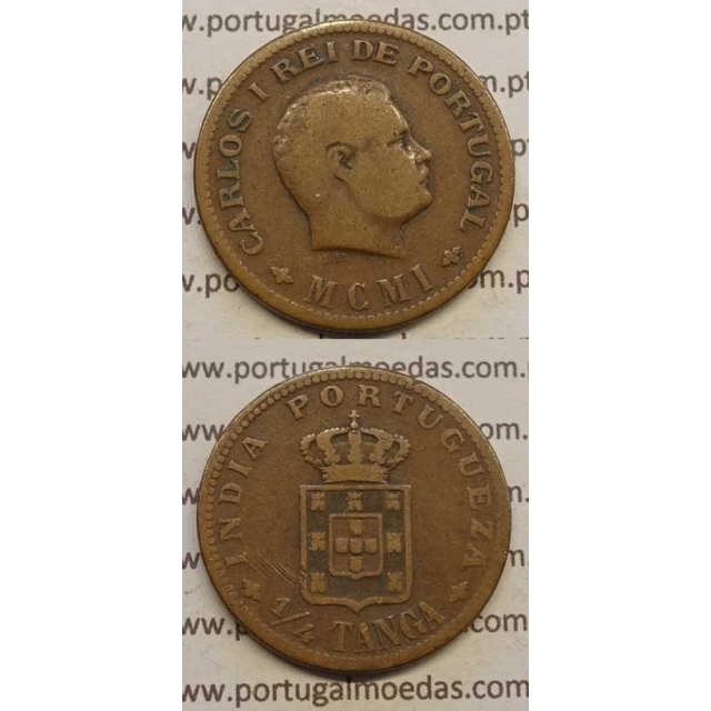 "1/4 TANGA COBRE MCMIII - 1901 ""INDIA"" (MBC-) D. CARLOS I"