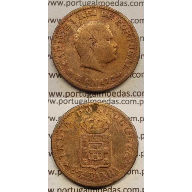 "1/4 TANGA COBRE MCMIII - 1903 ""INDIA"" (BC) D. CARLOS I"